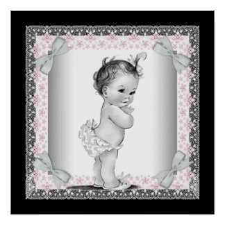 Adorable Pink Vintage Baby Girl Poster
