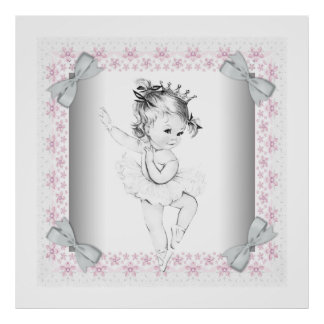Adorable Pink Vintage Ballerina Baby Girl Posters