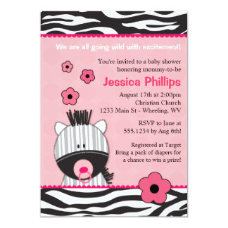 Adorable Pink Zebra Baby Shower Invitations