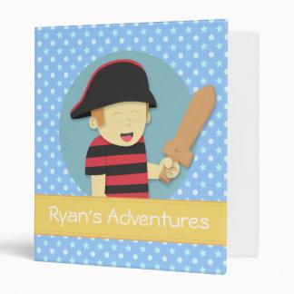 Adorable Pirate Boy in Red & Black Stripes Top 3 Ring Binder