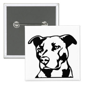 Adorable Pit Bull-Type Breed Silhouette Pinback Button