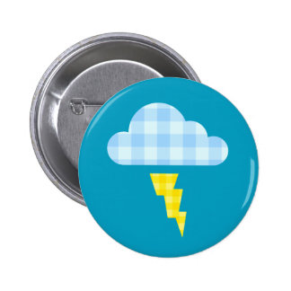 Adorable Plaid Storm Cloud and Lightning Bolt Pinback Button