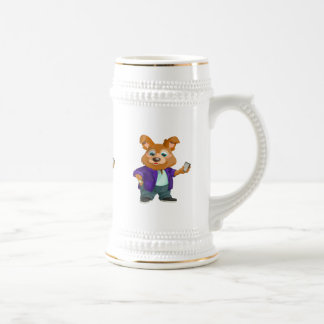 Adorable playful Cartoon dog student in a suit #1w Beer Stein