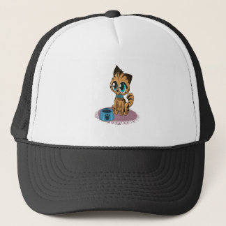 Adorable playful fluffy cute kitten with cat eyes trucker hat