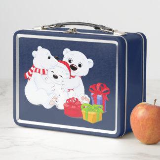 Adorable Polar Bear Blue Holiday Metal Lunch Box