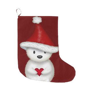 Adorable Polar Bear with Heart Christmas Stocking Large Christmas Stocking