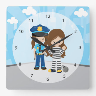 Adorable Police Officer Square Wall Clock