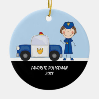 Adorable Police Woman with Police Car Ornament