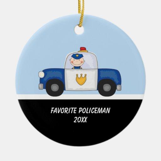 Adorable Policeman in Police Car Ornament