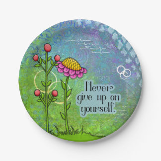 Adorable Positive Thought Doodle Flower Plate