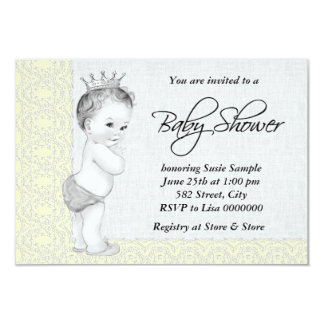 Adorable Prince Yellow and Gray Baby Shower Card