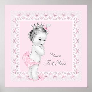Adorable Princess Pink Baby Girl Poster