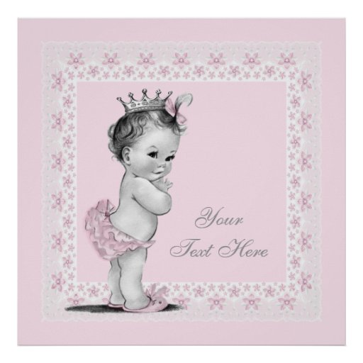 Adorable Princess Pink Vintage Baby Girl Poster