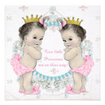 Adorable Princess Twin Baby Shower Invitations