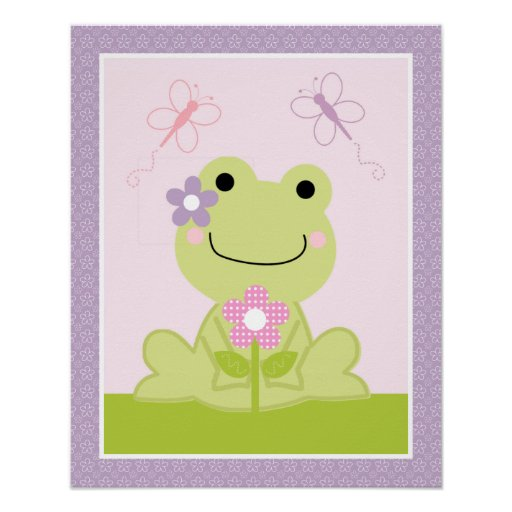 Adorable Puddles Frog Nursery Art Poster Poster