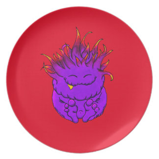 """Adorable Pudgy Cuddly Monster """"Logi"""" Melamine Plate"""