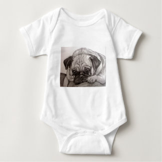 Adorable Pug artwork by Carol Zeock Baby Bodysuit
