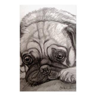 Adorable Pug artwork by Carol Zeock Stationery