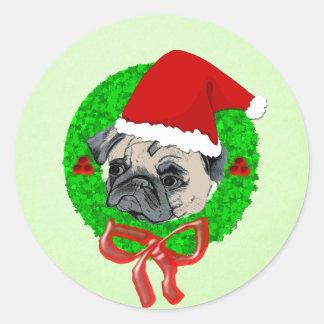 Adorable Pug Christmas Classic Round Sticker