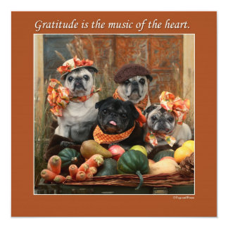 Adorable Pug Flat Thanksgiving Card