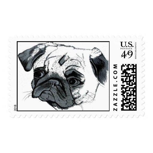 Adorable Pug Postage Stamp