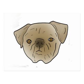 Adorable Pug. Postcard