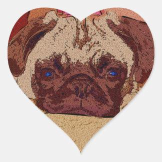 Adorable Pug Puppy Heart Sticker