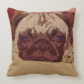 Adorable Pug Puppy Resting Big Square Pillows