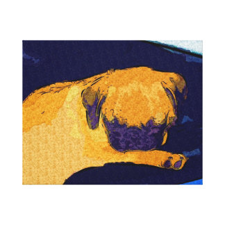 Adorable Pug Puppy Sleeping Stretched Canvas Print