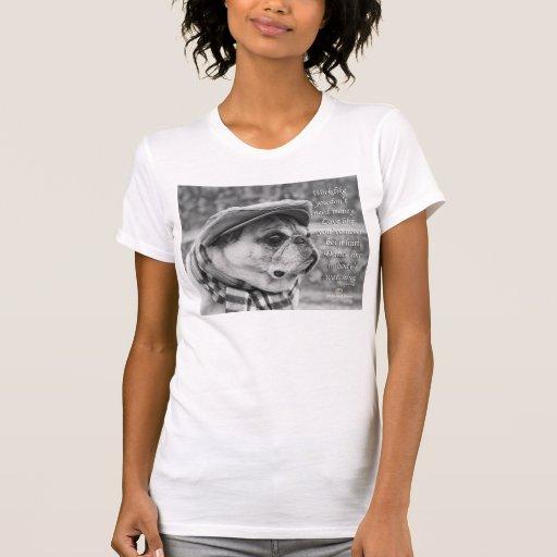 Adorable pug tee shirt with inspirational quote