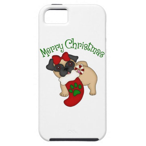 Adorable Pug Themed Holiday Christmas Tees, Gifts iPhone 5 Cover