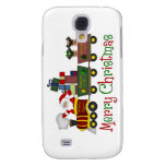 Adorable Pugs and Santa in Toy Train Tees, Gifts Samsung Galaxy S4 Case