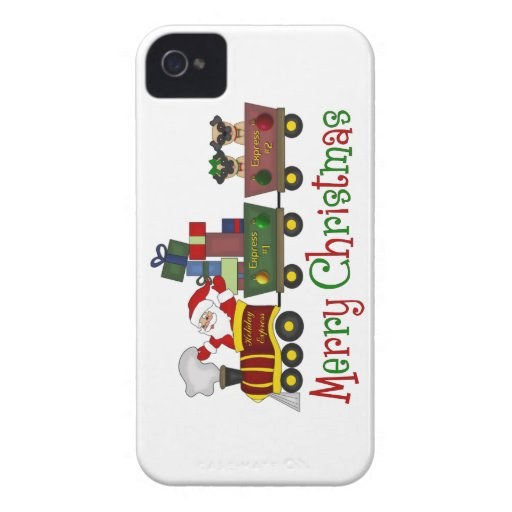 Adorable Pugs and Santa in Toy Train Tees, Gifts iPhone 4 Cover