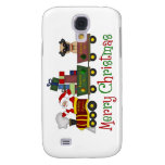 Adorable Pugs and Santa in Toy Train Tees, Gifts Samsung Galaxy S4 Covers