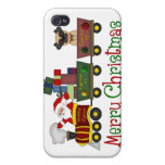 Adorable Pugs and Santa in Toy Train Tees, Gifts Case For iPhone 4