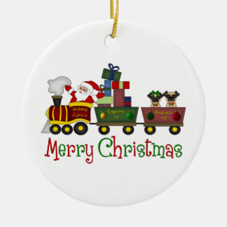Adorable Pugs and Santa in Toy Train Tees, Gifts Double-Sided Ceramic Round Christmas Ornament
