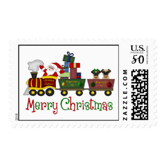 Adorable Pugs and Santa in Toy Train Tees, Gifts Postage