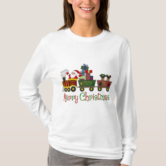Adorable Pugs and Santa in Toy Train Tees, Gifts T-Shirt
