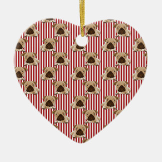 Adorable Pugs on Red Stripes Double-Sided Heart Ceramic Christmas Ornament