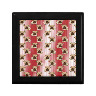 Adorable Pugs on Red Stripes Gift Box