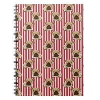Adorable Pugs on Red Stripes Journals