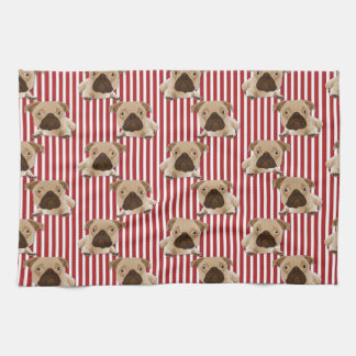 Adorable Pugs on Red Stripes Kitchen Towels