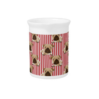 Adorable Pugs on Red Stripes Pitcher