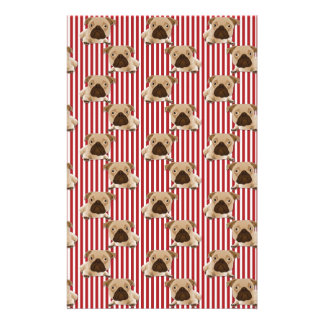 Adorable Pugs on Red Stripes Stationery