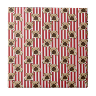 Adorable Pugs on Red Stripes Tile
