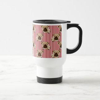 Adorable Pugs on Red Stripes Travel Mug