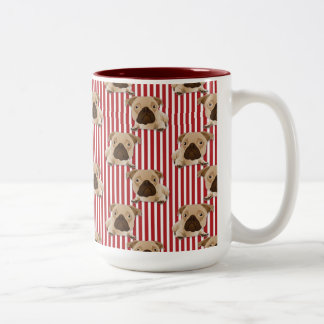 Adorable Pugs on Red Stripes Two-Tone Coffee Mug