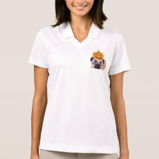 Adorable Pumpkin Head Halloween Pug Polo Shirt