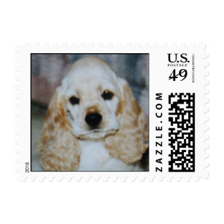 Adorable puppy dog eyes postage