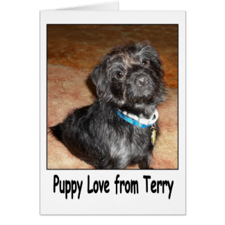 """Adorable """"Puppy Love From Terry"""" Card"""